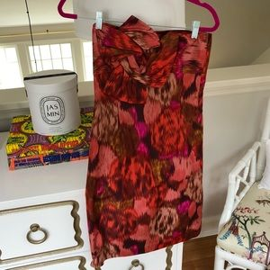Strapless J. Crew collection printed silk dress